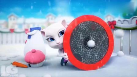 亲子早教 会说话的汤姆猫搞笑视频,雪人装上了
