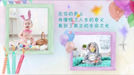 D78可爱儿童卡通生日快乐祝福视频AE模板宝宝满月