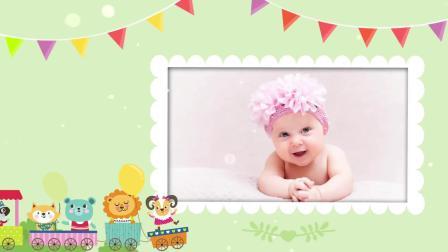 D79可爱儿童卡通生日快乐祝福视频AE模板宝宝满月