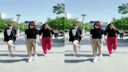 三位美女一起跳广场舞;舞名《动感飞扬》舞曲