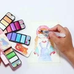秀普扇形固体水彩颜料初学者套装48色便携水粉动