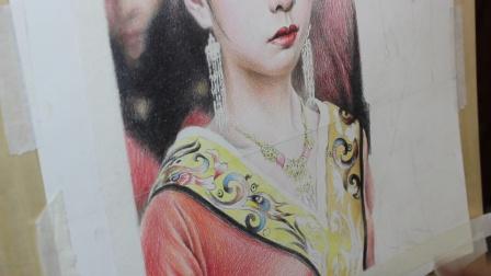 彩铅手绘古装美女的教程(四)