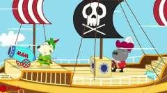 儿童卡通片:小动物们扮演海盗乘坐海盗船