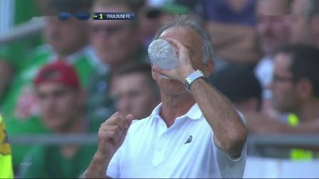 Hamouma2019.9.15,绿衣21号左边锋,法甲Saint-Etienne 2_2 Toulouse,第45、58分进球,上半场