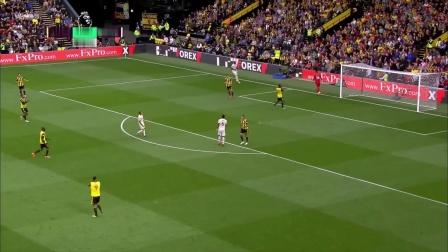英超5轮 沃特福德1-2曼联 第19分钟精彩片段