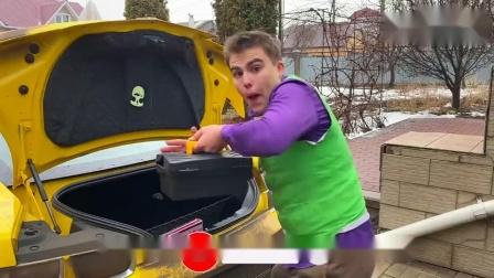 趣味恶搞游戏:蒙面人使用玩具气球将汽车弄坏