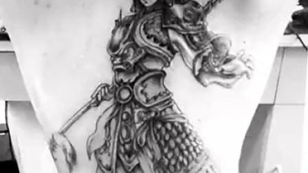 子沐刺青纹身设计满背赵子龙视频图片