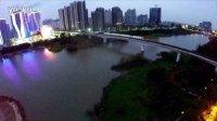 夜间航拍广州南沙万达广场