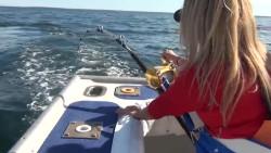 玉人海钓,这是钓上大鱼了吧,遛鱼遛得手软