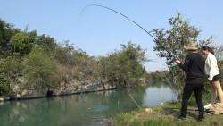 小伙和表妹深潭钓鱼,连上几竿,遛鱼遛得手软,运气太棒了