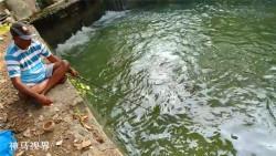 在水闸口四周垂钓,收获两条猛鱼