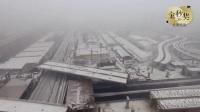 航拍5万吨大桥转体跨铁路
