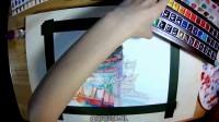 【XRL手绘水彩】南京阅江楼手绘建筑水彩过程视频