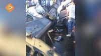实拍巨型吊臂砸落切断五菱面包车 7死3伤