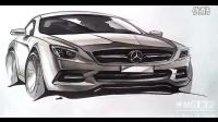 Mercedes Benz SL class奔驰汽车马克笔教程克笔上色